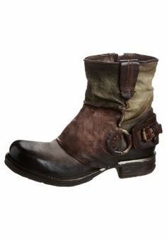 AirStep - Cowboy/Biker boots - green brown fold over