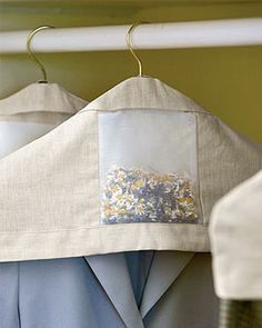Beautiful linen hanger covers with built in lavender pockets.  Protect out of season clothing while reducing pests.