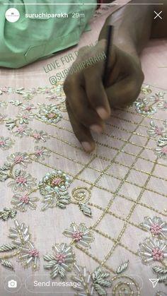 Zardosi Embroidery, Hand Embroidery Dress, Tambour Embroidery, Embroidery On Clothes, Couture Embroidery, Embroidery Suits, Embroidery Fashion, Silk Ribbon Embroidery, Border Embroidery Designs