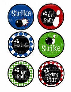 Bowling Boys Primary  Retro Large Round Tags N Toppers U PRINT. $3.50, via Etsy.