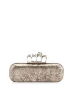 Tarnish Napa Long Knuckle Box Clutch Bag, Silver by Alexander McQueen at Neiman Marcus.