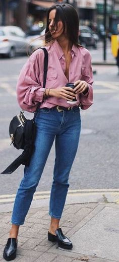 spring street style perfection / blush blouse + bag + jeans + loafers