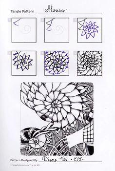 Photo: Zentangle. Обучение. Формат страницы А5. Гелевые ручки, карандаш. Шаблон с сайта TanglePatterns.com.