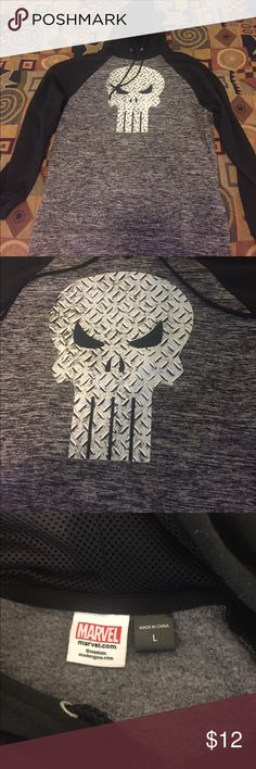 Black Punisher Hoodie Black Punisher Hoodie. Thick, warm material. Size Large. Open to Offers. Marvel Shirts Sweatshirts & Hoodies