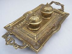 Solid Brass Antique Inkwell