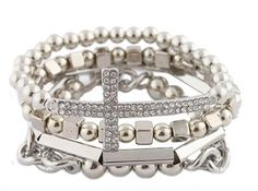 2 Sets of of Silvertone 4 Piece Bundle of Iced Out Cross, Link, & Bar Chain Beaded Stretch Bracelet - $10