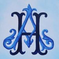 Royal and navy look great together.  Victorian monogram alpha