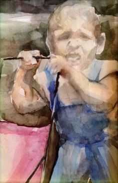 A watercolor of the young me for my mum as a chrismas present.