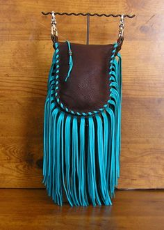 Fringed clip on Belt bag in Chocolate and Turquoise deerskin leather (free… Leather Fringe, Leather Pouch, Leather Purses, Leather Handbags, Leather Totes, Fringe Handbags, Fringe Bags, Leather Jewelry, Leather Craft