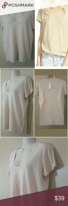James Perse tee shirt James Perse cream color jp size 4 cotton linen James Perse Tops Tees - Short Sleeve