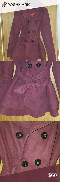 Celebrity Pink skirted jacket with removable hood. ??? Maroon jacket with adorable ruffled skirt. It is in near perfect condition. I just grew out of it. No flaws that I could see upon inspection (besides some of my dogs white fur that can be removed with a lint roller. No, it does not SMELL like my dog. I only have one and she's tiny.) Bought from Macys. Perfect for winter ??? Celebrity Pink Jackets & Coats Pea Coats