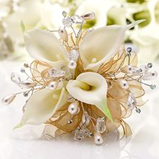 Prom Corsage | White Calla Lily with Golden Sheer Ribbon & Pearls