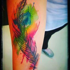 Watercolor, feather, made by Felipe El Bari. My tattoo