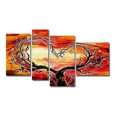 Home Decor - Wall Art - Oil Paintings - Abstract Paintings - Hand-painted Abstract Oil Painting with Stretched Frame - Set of 4 Abstract Painting Techniques, Modern Oil Painting, Hand Painting Art, Oil Painting Abstract, Abstract Wall Art, Contemporary Paintings, Canvas Wall Art, Abstract Landscape, Modern Contemporary