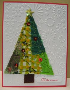 I created these little Christmas trees using this piece of fabric collage I made up the other day. The trees measure across the bott. Fabric Christmas Trees, Christmas Collage, Christmas Cards To Make, Felt Christmas, Xmas Cards, Handmade Christmas, Holiday Cards, Christmas Crafts, Simple Christmas