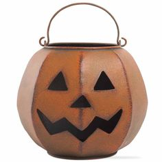 Tag Halloween Rustic Jack-O-Lantern Candle Holder ($40) ❤ liked on Polyvore featuring home, home decor, tag home decor, rustic home decor, halloween lanterns, rustic home accessories and halloween home decor