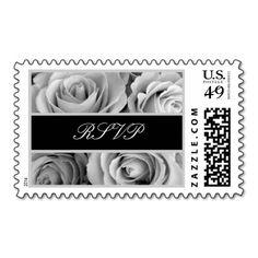 Black White Silver Roses Wedding RSVP Stamp #wedding #stamps #love #marriage #romance #bride #groom #jaclinart #love #postage #black #white #silver #roses #rsvp