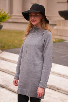 SheIn tunic sweater with black floppy hat and black jeans