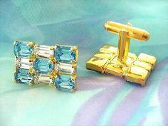 Czech Rhinestone Cufflinks - Strass Manschettenknöpfe Crystal Aqua - Gablonz/Böhmen