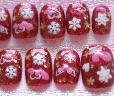 Christmas snow glow in the dark holiday themed nail art by Aya1gou, $18.00