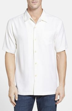 Tommy Bahama Tommy Bahama 'Catalina Twill' Island Modern Fit Silk Camp Shirt available at #Nordstrom