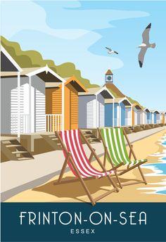 Frinton-on-Sea Essex. Art print Travel/Railway Poster of beach huts at Frinton-on-Sea. in Retro, Art Déco style design British Beaches, British Seaside, British Isles, Beach Huts Art, Beach Art, Popular Holiday Destinations, Vacation Destinations, British Holidays, Beach Illustration