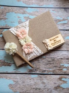 This guest book is perfect to finish off your matching set pen included and will be made with the same colors you choose for the book Burlap covered Book measures 9 3/4 wide x 6 1/2 tall Has enough pages inserted and seemed for over 300 signatures -:) You can pick one, two or
