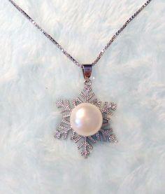 Genuine Freshwater white Pearl(11-12mm) Snowflake Pendant S925 Necklace #Pendant