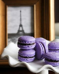 The perfect macaroon... what a colour! Parma Violet happens to be my favourite shade in the purples (v elegant, v chic) and macaroons are To Die For anyway...