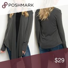 🆕 • CHARCOAL KNIT CARDIGAN • Charcoal knit cardigan with waterfall detail. Slight bell sleeve and asymmetrical hem! Made in Mexico. Fabric Content: 97% POLYESTER 3% SPANDEX. True to size. Evette Encounters Sweaters Cardigans