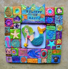 Mermaid wall art.  Mermaids do exist, at least in my imagination! Sometimes we need to be reminded to look for magic in the world as we move through our busy lives. I make art to inspire people. This wall plaque is upbeat and colorful, and will put a smile on your face. Its never too late to find
