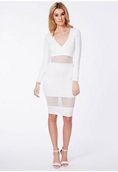 Talissa Wrap Midi Dress With Mesh Detail - Dresses - Midi Dresses - Missguided | Ireland