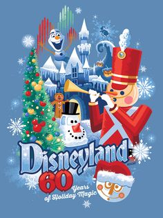 "Are you a fan of the Disneyland Resort Diamond Celebration ""Decades"" collection? Here's your first look at the new art debuting November 12 celebrating 60 years of Holiday Magic. Disneyland Christmas, Disneyland 60th, Vintage Disneyland, Disneyland Resort, Disney Holidays, Happy Holidays, Disney Actual, Disney Love, Disney Magic"