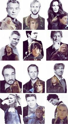 Lord of the Rings cast. Top left to bottom right -- Sir Ian McKellan, (Gandalf) Dominic Monaghan, (Merry) Liv Tyler, (Arwen) Viggo Mortensen, (Aragorn) Elijah Wood, (Frodo) John Rhys-Davies, (Gimli) Billy Boyd, (Pippin) Sean Bean, (Boromir) Cate Blanchett, (Galadriel) Sean Astin (Sam) and Orlando Bloom. (Legolas)