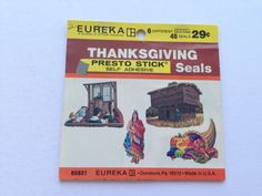 Thanksgiving Presto Stick Seals by Eureka - Vintage Gift Wrapping Paper Seals - Holiday Stickers Stamps - 1 Unused Full Pack - Colonial
