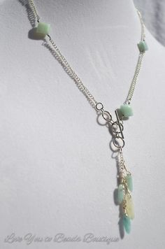 Lariat semi precious amazonite square beads and by LoveU2beads
