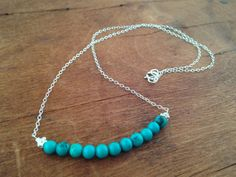 Sterling Silver Chain Necklace with row of Turquoise