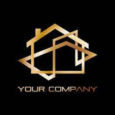 Vector golden Logo house, real estate agency