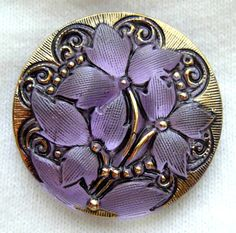 Czech Glass Button  Lavender Reverse Painted by ButtonOdyssey, $6.99
