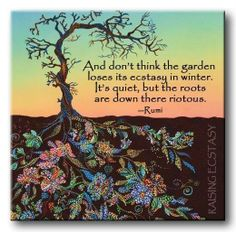And don't think  the garden loses its ecstacy in winter.. It's quiet, but the roots are down there riotous.. ~ Rumi