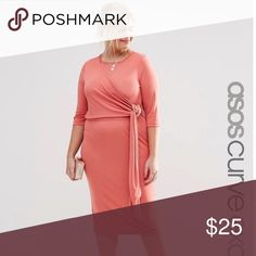 ASOS Curve Wrap Dress Beautiful coral color great for any occasion. Stretchy fabric. WORN ONCE ASOS Curve Dresses Midi