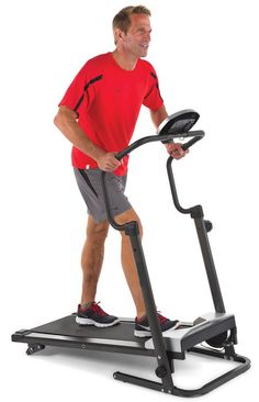 """The Walker's Foldaway Treadmill - This is the walker's motorless treadmill that folds to only 14"""" high for unobtrusive storage. Available only from Hammacher Schlemmer and without requiring any tools or the removal of parts, the treadmill's walking platform folds flush with the handlebars to enable storage in a closet or against a wall. The treadmill's resistance is created by magnetic force, eliminating the need for AC power and allowing set up anywhere in a home."""