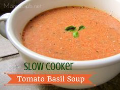 Tomato Basil Soup. Slow Cooker. What's not to love about this pair? Blend the canned tomatoes together in a food processor or blender...