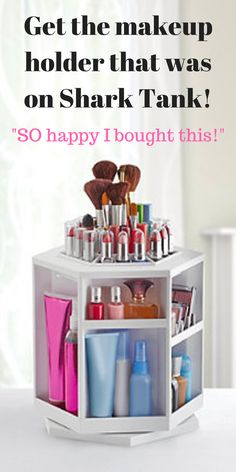 This awesome makeup and brush holder won a Shark Tank deal and super high ratings on Amazon!