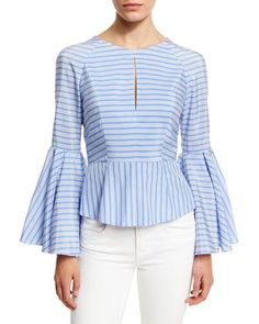 Luna Striped Bell-Sleeve Peplum Blouse, Sky by Milly at Neiman Marcus.