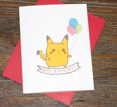 Pokemon Pikachu Happy Birthday Card by TurtlesSoup on Etsy, $3.75  #pokemon, #pikachu, #anime, #gaming, #geekery, #videogame, #greetingcard, #birthday