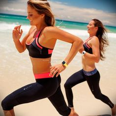 Alana Blanchard (and friend) training for pro surfing by running on a Hawai'ian beach