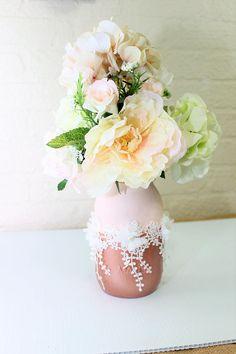 Blush Rose Gold and Champagne Quart Mason Jar Floral