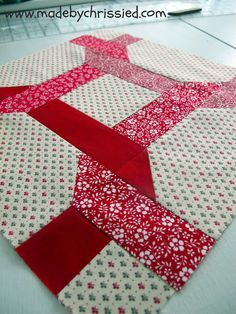 Made by ChrissieD: We're Gonna Do The Twist And It Goes Like This - My February Bee Block--there is a link to the pattern