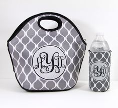 Insulated Lunch Bag And Water Bottle Insulator Monogrammed Lunch Box Lunch Tote & Water Bottle Sleeve Personalized Custom Monogram Lunch Bag by ChicMonogram on Etsy